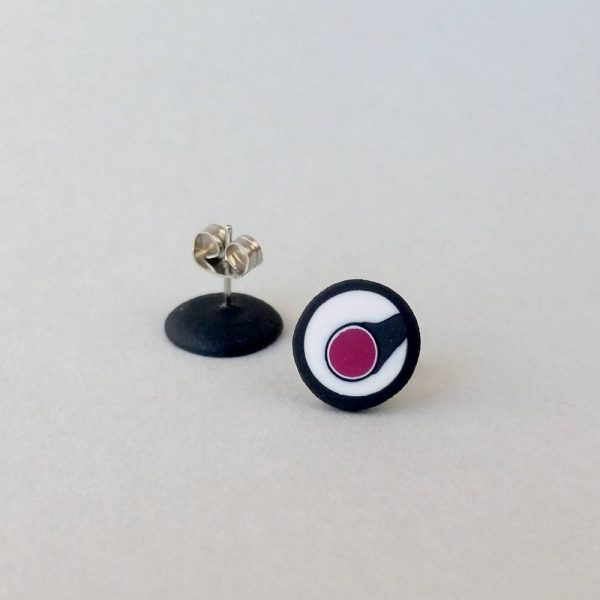 Handmade stud earrings with asymmetrical abstract flower bud pattern in plum tones, on a white background with a charcoal border. Surgical stainless steel posts.