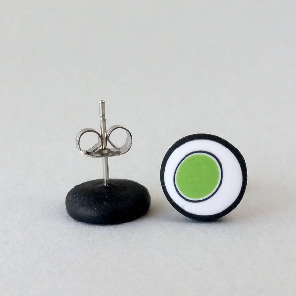 Handmade stud earrings with organic circles of lime green on a white background with a black border.