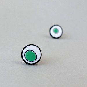 Handmade stud earrings with organic circles of mint green on a white background with a black border.