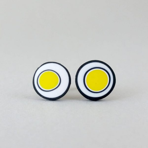 Handmade stud earrings with organic circles of bright yellow on a white background with a black border.