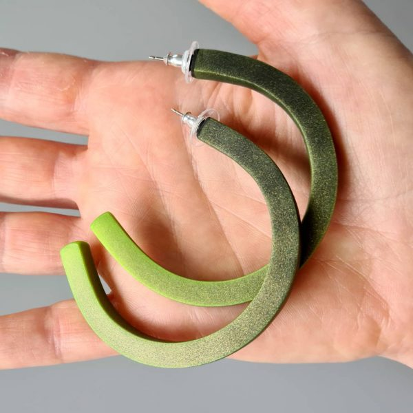 Handmade large hoop earrings in shimmering green with ombre effect. Titanium posts.