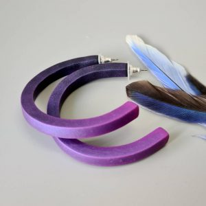 Handmade large hoop earrings in shimmering purple with ombre effect. Titanium posts.