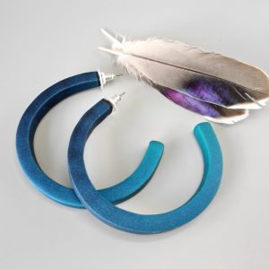 Handmade large hoop earrings in shimmering teal blue with ombre effect. Titanium posts.